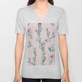 Cactus Rose Pattern on Pink Unisex V-Neck