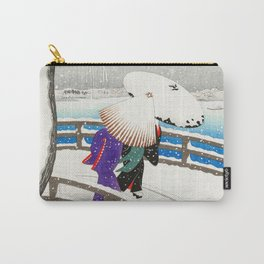 Women walking on Yanagi bridge - Japansese vintage woodblock print Carry-All Pouch