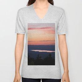 Nature landscape sunset mountains Unisex V-Neck