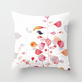 UNDER THE PINK LEAF Throw Pillow