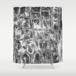 Alligator Skin // Black and White Worn Textured Pattern Animal Print Shower Curtain