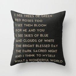 What a Wonderful World Song Art of Louis Armstrong Lyrics Throw Pillow