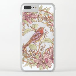 Magnolia And Marigold Wreath With Songbird Clear iPhone Case
