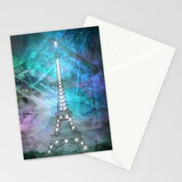 Illuminated Pop Art Eiffel Tower | Graphic Style Stationery Cards
