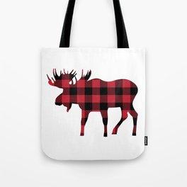 Moose Silhouette in Buffalo Plaid Tote Bag