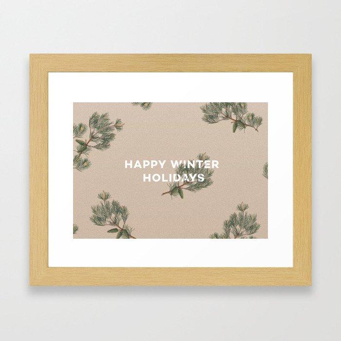 Happy Winter Holidays Framed Art Print