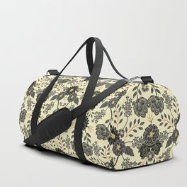 Gray, Black, Cream, Yellow & Red Sophisticated Floral Pattern Duffle Bag