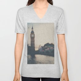 sunset over the city ... Unisex V-Neck