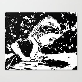 Alice and the rabbit hole Canvas Print