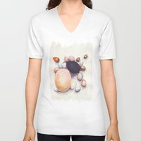 eggs V-neck T-shirts featuring Eggs by Bridget Davidson