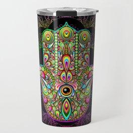Hamsa Hand Amulet Psychedelic Travel Mug