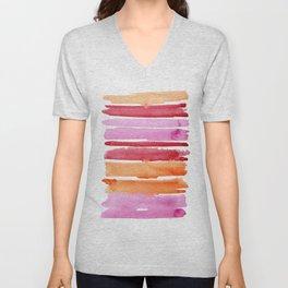 Summer stripes in pink and orange Unisex V-Neck