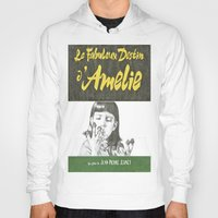 amelie Hoodies featuring AMELIE hand drawn movie poster in pencil by The Exiled Elite