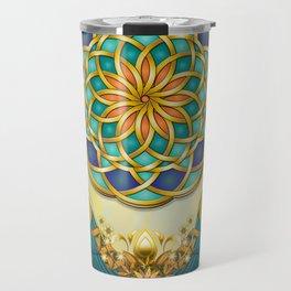 Autumn Serenade (Mandala of the Two Peacocks) Dawn Version Travel Mug