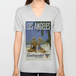 Los Angeles, Continental Air Lines - Vintage Poster Unisex V-Neck