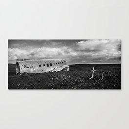 Black and White crashed plane on ash beach  Canvas Print