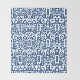 Swedish Folk Art - Blue Throw Blanket