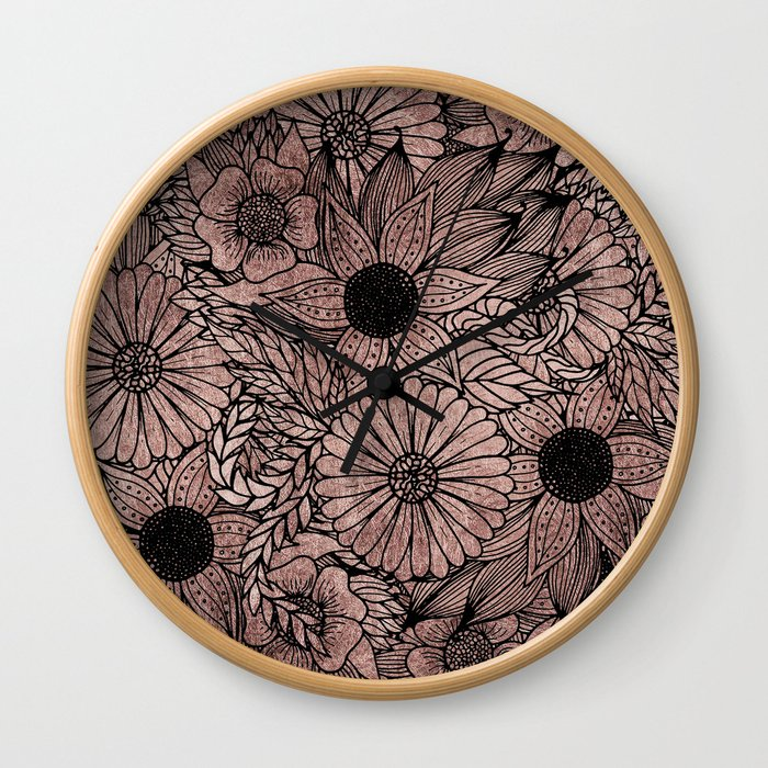 Floral Rose Gold Flowers and Leaves Drawing Black Wall Clock