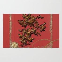 Golden flower on red Rug