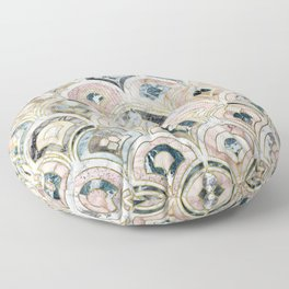 Art Deco Marble Tiles in Soft Pastels Floor Pillow