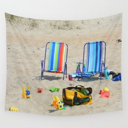 at the beach Wall Tapestry