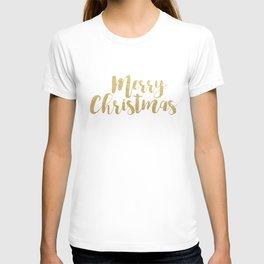 Merry Christmas   Gold Glitter Script T-shirt