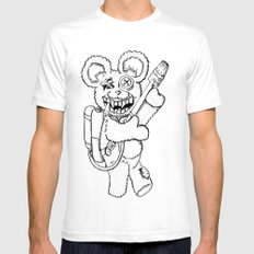 Teddy Rockin' the Flamethrower Mens Fitted Tee White SMALL