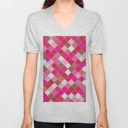 Pink Tiles Pattern Unisex V-Neck