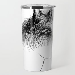 Horse, animal head portrait, hand drawn black and white drawing Travel Mug