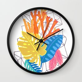 Leaves and corals Wall Clock