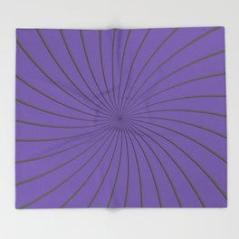 3D Purple and Gray Thin Striped Circle Pinwheel Digital Graphic Design Throw Blanket