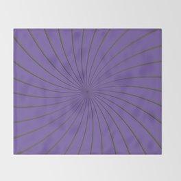 3D Purple and Gray Thin Striped Circle Pinwheel Digital Graphic Design Throw Blanket
