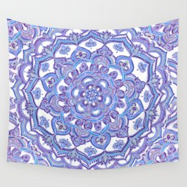 Lilac Spring Mandala - floral doodle pattern in purple & white Wall Tapestry