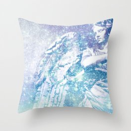 Celestial Guardian Angel Periwinkle Blue Throw Pillow
