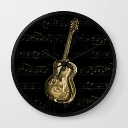 Dripping Gold  Acoustic Guitar on notes Wall Clock