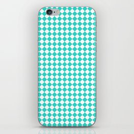 White and Turquoise Diamonds iPhone Skin