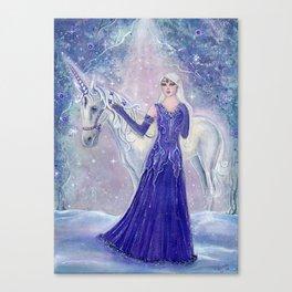 Whisper and winterflower unicorn and elf Canvas Print