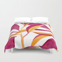 Ruby and golden leaf pattern in watercolor Duvet Cover
