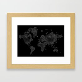 "Black and gray watercolor world map ""Coal mine"" Framed Art Print"