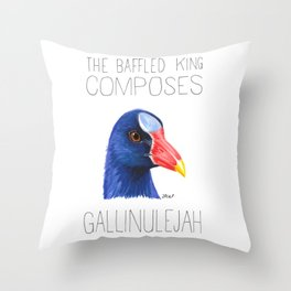 The Baffled King Composes Gallinuleyah (Purple Gallinule) Throw Pillow