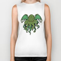 cthulhu Biker Tanks featuring Cthulhu by missmonster