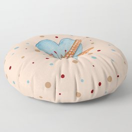 Country Heart And Polka Dots Watercolor Floor Pillow