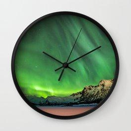 Green northern night sky - Aurora Borealis Wall Clock
