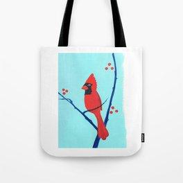 Cardinal Winter Berries Tote Bag