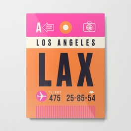 Baggage Tag A - LAX Los Angeles USA Metal Print