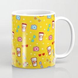 Coffee cup hipster pattern, yellow polka dot cool sunglasses pattern Coffee Mug