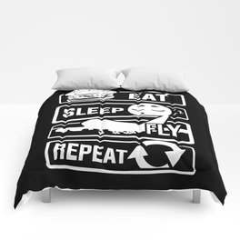 Eat Sleep Fly Repeat - Airplane Pilot Flight Comforters