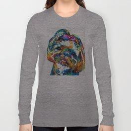 Colorful Shih Tzu Dog Art By Sharon Cummings Long Sleeve T-shirt