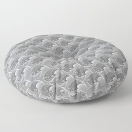 Vintage Japanese Waves, Gray / Grey and White Floor Pillow