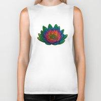 lotus flower Biker Tanks featuring Lotus  by Luna Portnoi